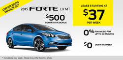 2015 Kia Forte - Lease it for as low as $37 weekly